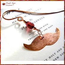 Load image into Gallery viewer, A Mustache Bookmark, with a Gemstone and Hand Forged Copper Dangle is a funky and fun filled gift for men, women, bookworms, 7th anniversary for husband, wife or couple. Also Father's Day for Dad and Granddad, hostess / host gift for bibliophiles, teachers, students, graduates, writers, librarians.