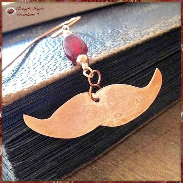 A Mustache Bookmark, with a Gemstone and Hand Forged Copper Dangle is a funky and fun filled gift for men, women, bookworms, 7th anniversary for husband, wife or couple. Also Father's Day for Dad and Granddad, hostess / host gift for bibliophiles, teachers, students, graduates, writers, librarians.