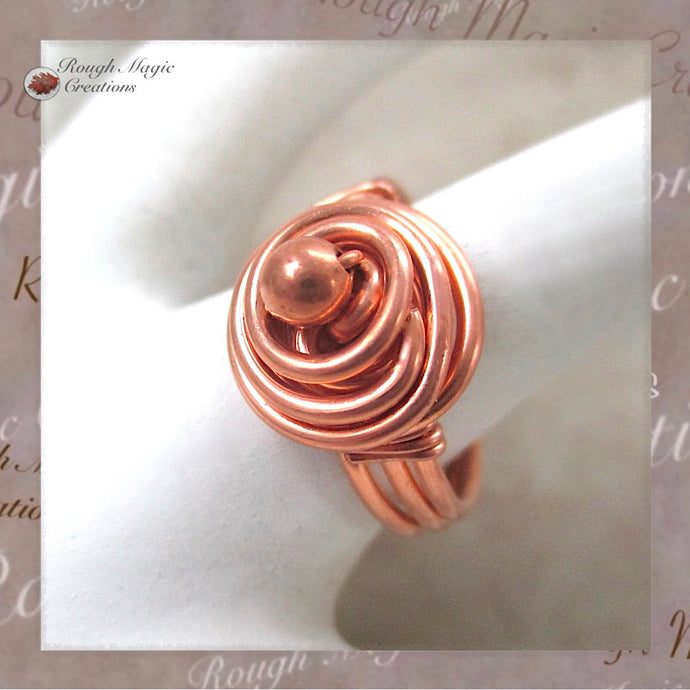 Rosebud Ring, Solid Copper Wire Wrapped Dome Handmade Jewelry by Rough Magic Creations