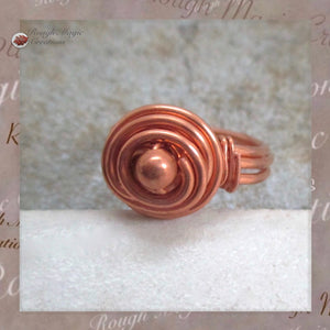 Solid Copper Rosebud Dome Ring with Wire Wrapped Bead handmade jewelry for women and men by Rough Magic Creations