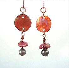 Load image into Gallery viewer, Copper and Pearl Earrings with Long Boho Dangles