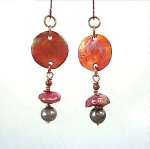 Copper and Pearl Earrings with Long Boho Dangles
