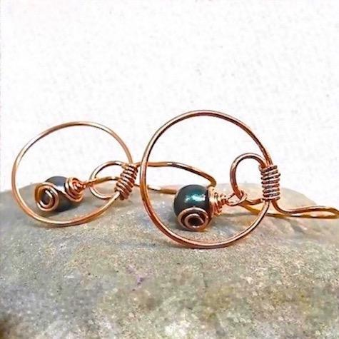 Cosmic Statement Earrings with Copper Hoops and Teal Pearls