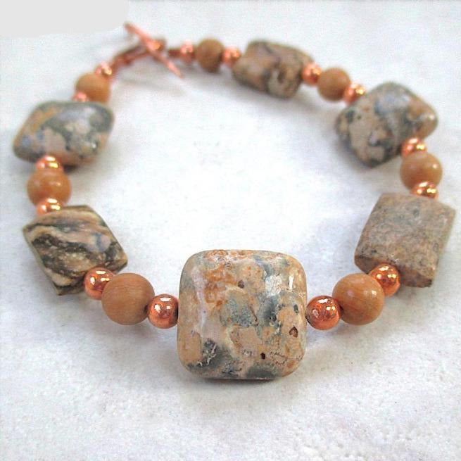 Earthy Gemstone Bracelet with Gray & Tan Jasper and Copper Beads and Toggle Clasp
