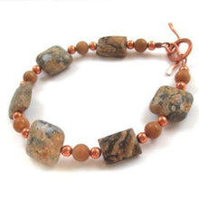 Load image into Gallery viewer, Earth Tone Jasper Bracelet with natural stones and copper, handmade jewelry by Rough Magic Creations.