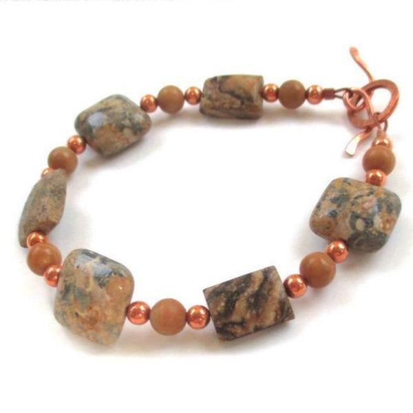 Earth Tone Jasper Bracelet with natural stones and copper, handmade jewelry by Rough Magic Creations.