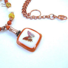 Load image into Gallery viewer, Fly Away Butterfly Autumn Pendant Necklace Handmade Fall Fashion Jewelry by Rough Magic Creations