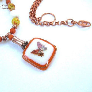 Fly Away Butterfly Autumn Pendant Necklace Handmade Fall Fashion Jewelry by Rough Magic Creations