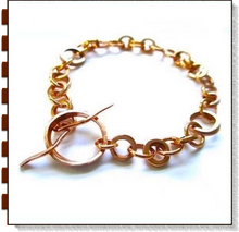 Load image into Gallery viewer, Copper Chain Link and Toggle Bracelet for men and woman, hand forged metalwork washers rings, handmade unisex jewelry, made in America by Rough Magic Creations, Mollie Meserve Designs