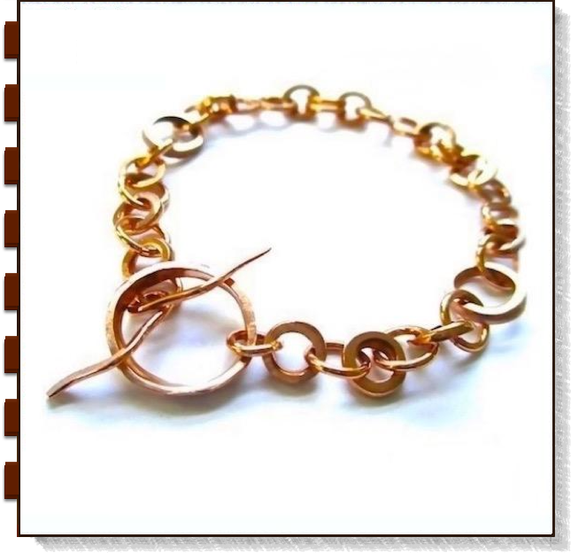 Copper Chain Link and Toggle Bracelet for men and woman, hand forged metalwork washers rings, handmade unisex jewelry, made in America by Rough Magic Creations, Mollie Meserve Designs