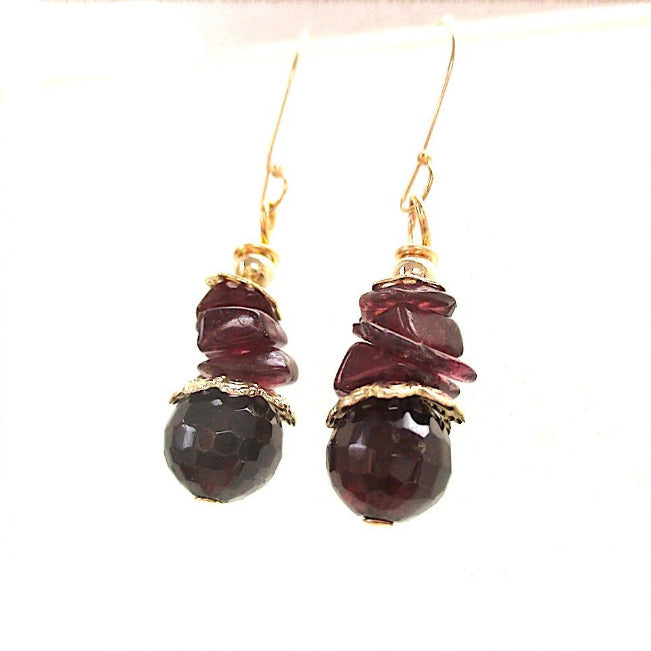 Garnet Gemstone and Gold Earrings, Dark Burgundy Red Dangle Drop
