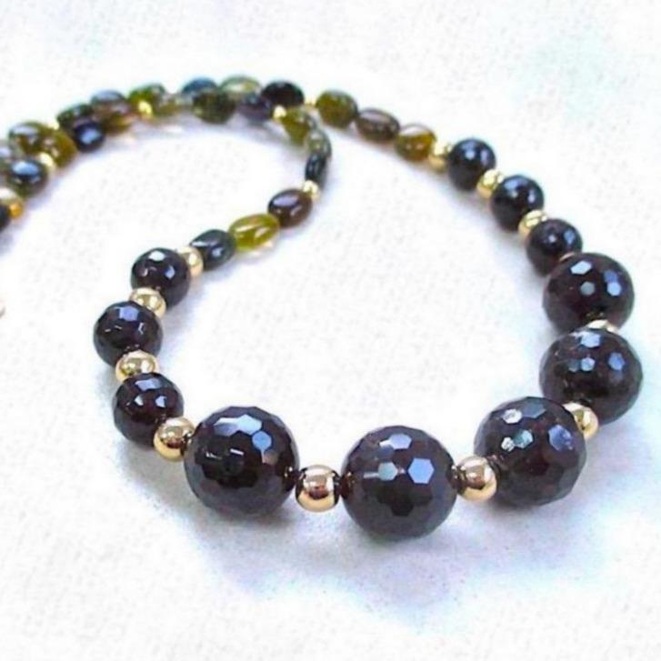 Garnet and Tourmaline Gemstone Necklace with Gold Filled Beads