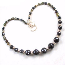 Load image into Gallery viewer, Garnet and Tourmaline Gemstone Necklace with Gold Filled Beads