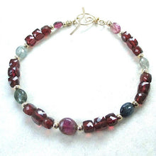 Load image into Gallery viewer, Gemstone Bracelet with Garnet, Tourmaline, Gold Filled Beads