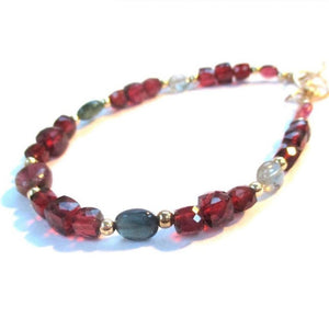 Gemstone Bracelet with Garnet, Tourmaline, Gold Filled Beads