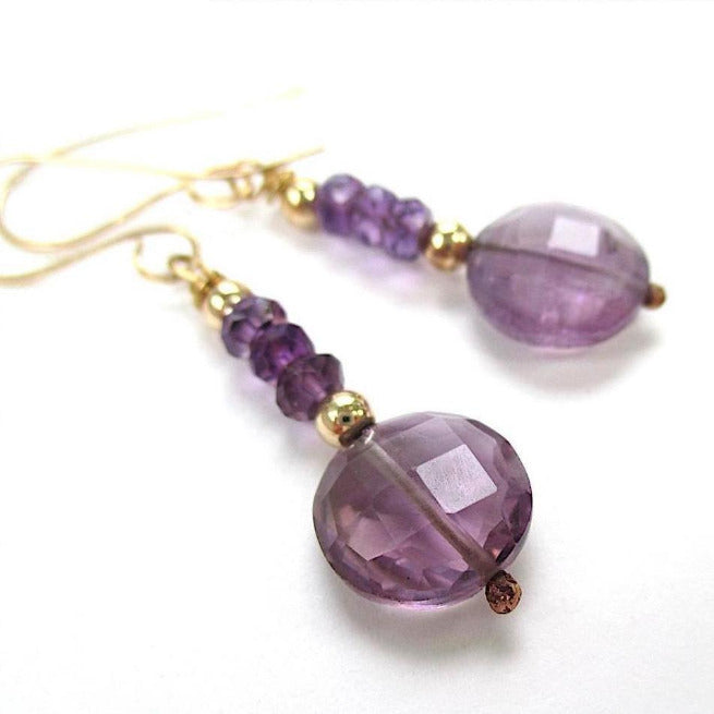 Genuine Amethyst Earrings, Purple Dangles, Gold Filled Jewelry, February Birthstone