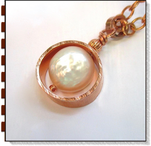 White Coin Pearl and Copper Pendant on Adjustable Chain Necklace
