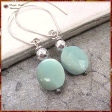 Load image into Gallery viewer, Sterling Silver Earrings with Green Amazonite Gemstones