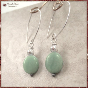 Sterling Silver Earrings with Green Amazonite Gemstones
