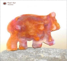 Load image into Gallery viewer, Copper Bear Brooch, Rustic Woodland Jewelry Handmade by Rough Magic Creations