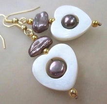Load image into Gallery viewer, Heart Earrings with White Shells, Lavender Pearls, Gold Beads