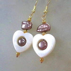 Heart Earrings with White Shells, Lavender Pearls, Gold Beads