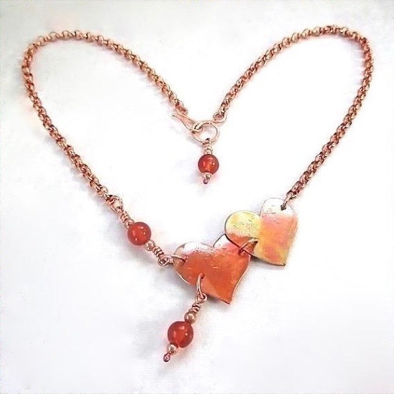 Forged Colored Copper Hearts and Red Gemtone Pendant on Chain Necklace