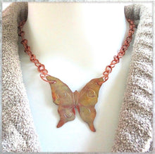 Load image into Gallery viewer, Large Copper Butterfly Pendant Necklace with Adjustable Chain