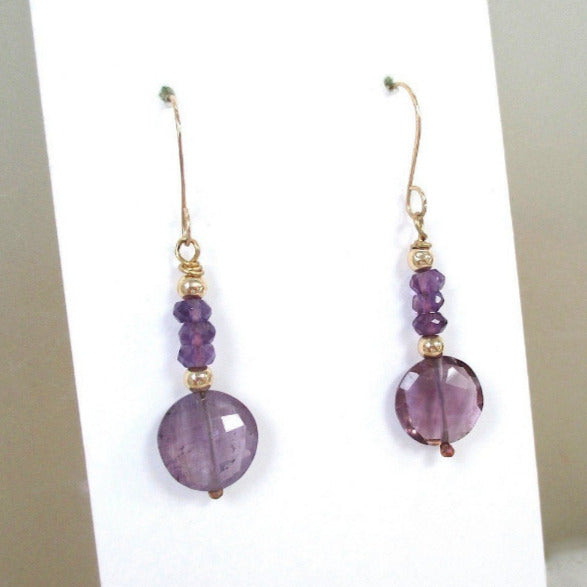 Feb birthstone amethyst long earrings for her birthday