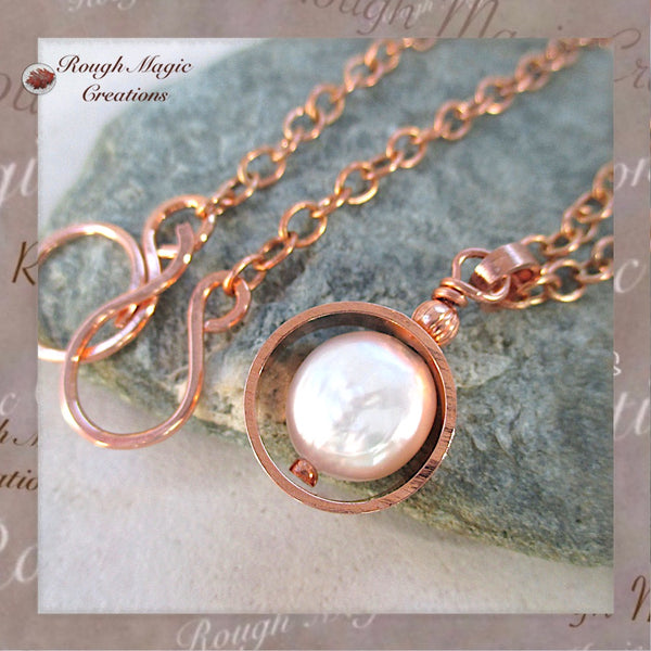 Rustic, primitive pearl drop pendant with copper for 7th anniversary, June birthday, non-traditional wedding jewelry