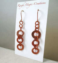 Load image into Gallery viewer, Long Copper Earrings, Rustic Shoulder Dusters Hand Forged Ring Dangles Handmade Jewelry by Rough Magic Creations.