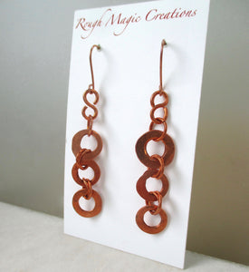 Long Copper Earrings, Rustic Shoulder Dusters Hand Forged Ring Dangles Handmade Jewelry by Rough Magic Creations.