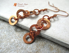 Load image into Gallery viewer, Lone dangle earrings of handmade of solid copper, rustic primitive hammered hand forged washers, rings and hook earwires