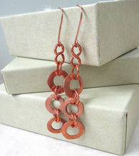 Load image into Gallery viewer, Long Copper Earrings, Rustic Shoulder Dusters with Forged Ring Dangles