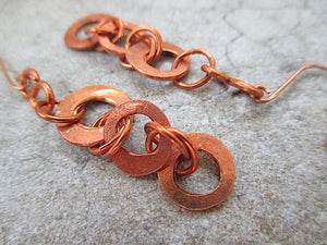 Rustic Primitive Solid Copper Shoulder Duster Earrings, Abstract Boho Jewelry Handmade by Rough Magic Creations.
