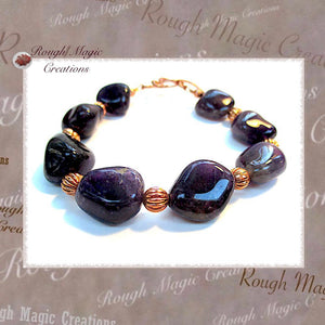 Purple Amethyst Gemstone and Copper Bracelet, February Birthstone
