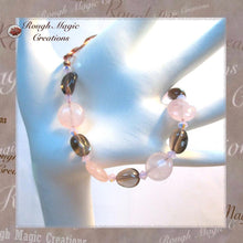 Load image into Gallery viewer, Pink Contrast Gemstone Bracelet, Gray and Rose Quartz, Crystals, Copper Toggle Clasp