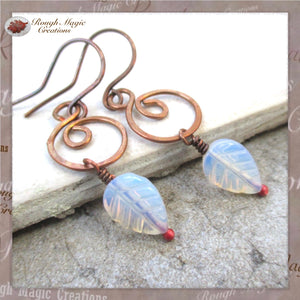 Rainbow Moonstone Antique Copper Earrings with White Glass Leaves
