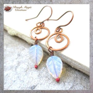 June birthstone jewelry handmade copper earrings 7th anniversary