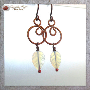 Rustic copper earrings white leaves handmade jewelry for women