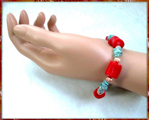 Red Coral anBoho Jewelry for Women: Turquoise Southwestern Bracelet with Copper Accent Beads, Southwest Colors, Eclectic Design Handmade in Maine, USA, by Rough Magic Creations, Made in America.
