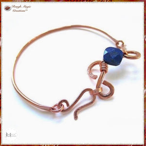 Lapis Lazuli Blue Gemstone Copper Cuff Bangle Bracelet