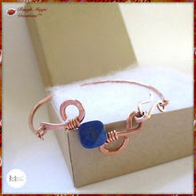 Load image into Gallery viewer, Lapis Lazuli Blue Gemstone Copper Cuff Bangle Bracelet