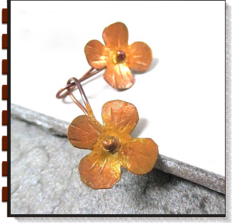 Rustic Floral Earrings with Hand Forged Copper Flowers