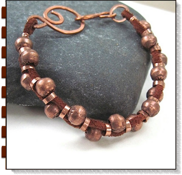 Rugged Leather & Copper Bracelet Rustic Beads Brown Suede Focal Clasp
