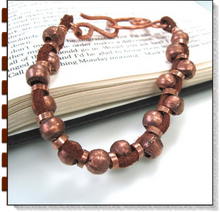 Load image into Gallery viewer, Rugged Leather & Copper Bracelet Rustic Beads Brown Suede Focal Clasp