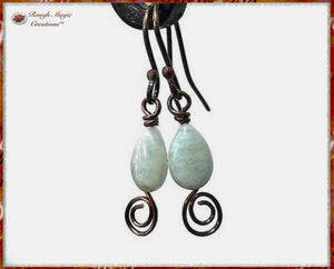 Light Green Aquamarine Gemstone Earrings with Copper Swirl Dangles