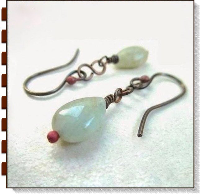 Light Green Gemstone Earrings Aquamarine and Antique Copper