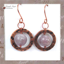Load image into Gallery viewer, Lilac Stone Earrings with Purple Gemstones & Rustic Antique Copper Circles