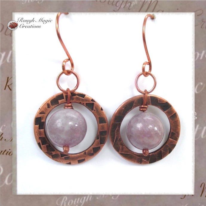 Lilac Stone Earrings with Purple Gemstones & Rustic Antique Copper Circles